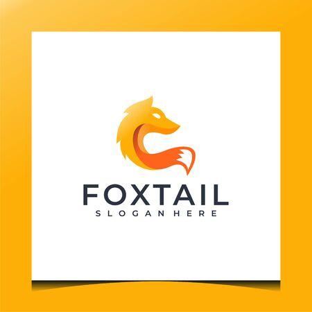 Modern style of fox logo done with orange gradient