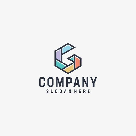 Logo design that make shape of an abstract G letter shape in blue color