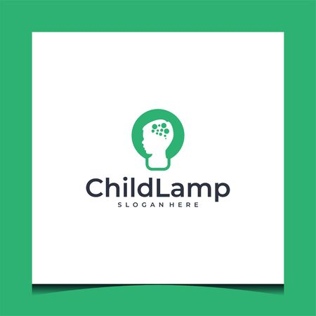 Logo design that make shape of child and lamp with green color and suit to be placed everywhere