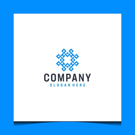 Logo design that make abstract shape in blue color
