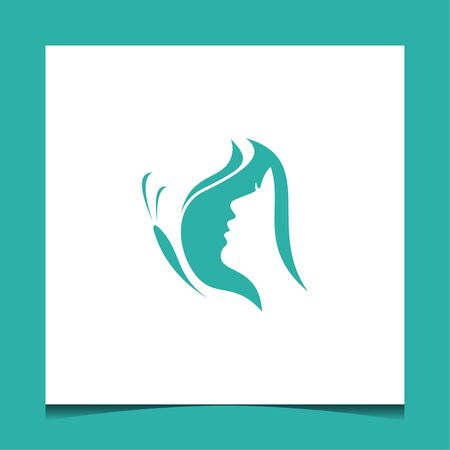 Logo design that make shape of butterfly and girl with green color and suit to be placed everywhere