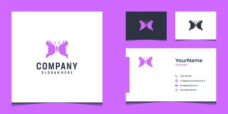 Inspirational  design that make shape of butterlfy and girl face in purple color and suit to be placed everywhere Stock Illustratie