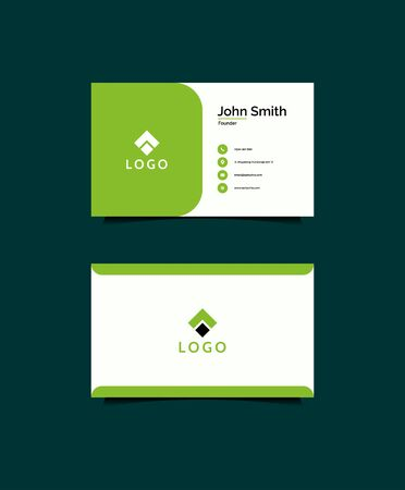 Inspirational business card design concept in green color that suit to be placed everwyhere