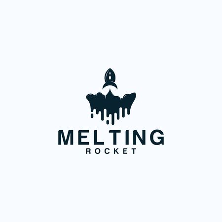 Inspirational logo design that combine rocket and melting Illustration