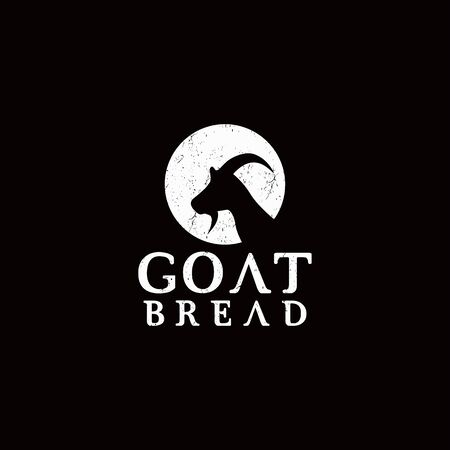 Inspirational simple goat design with beard in negative space