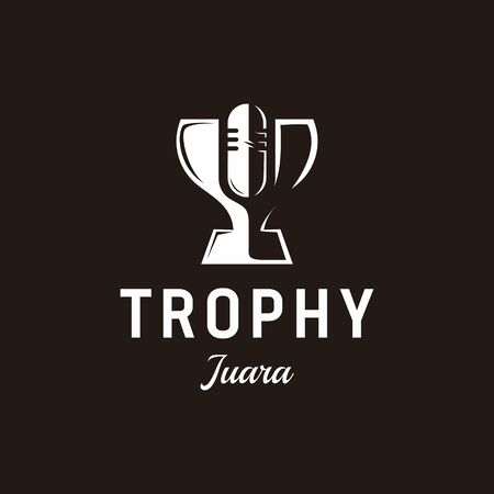 Negative space logo that make shape of trophy