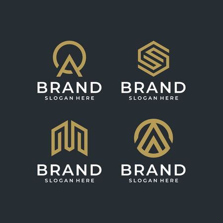 Abstract modern logo design pack that contain 4 logo Illustration