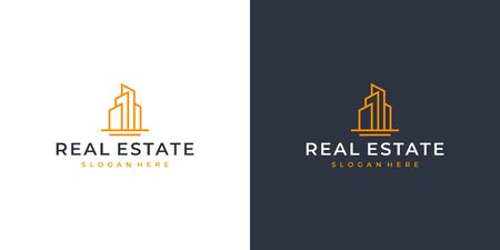 Real estate logo design that bring line art concept Illustration