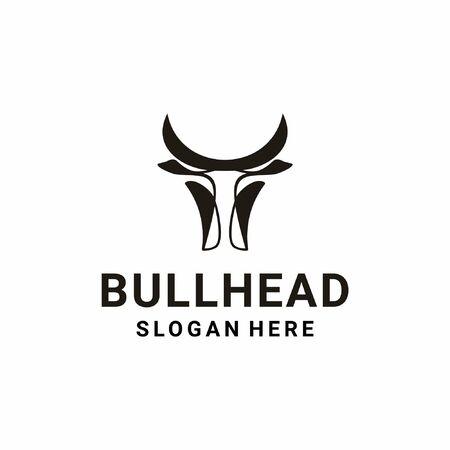 Modern inspirational bull logo design in black color