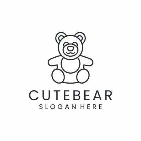 Modern inspirational bear logo design in black color Illusztráció