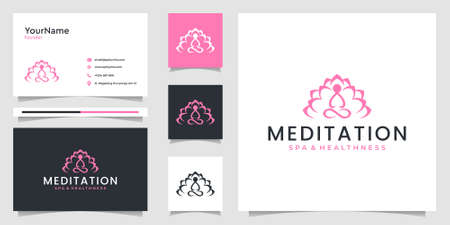 Yoga logo bundle with business card that can be use for decoration, branding, spa, and others