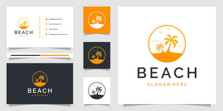 Palm tree logo with beach theme and business card. Logo can be use for branding, ads, holiday, and vacation. Very suitable to be placed everywhere 向量圖像
