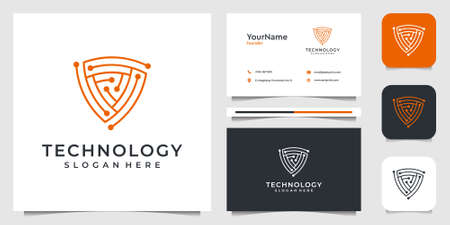 Modern technology logo design illustration vector graphic. Good for brand, advertising, company, business, internet, and business card