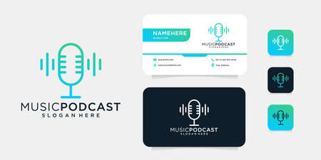 Music podcast monogram mic logo design with business card template that can be used for print
