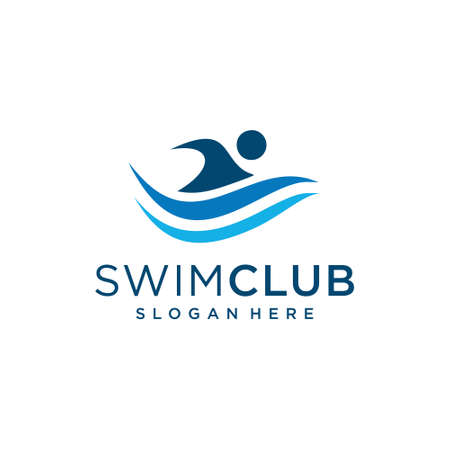 Swimming man logo design template inspiration in blue. Logo can be used as icon, brand, identity, course, creative, and business company