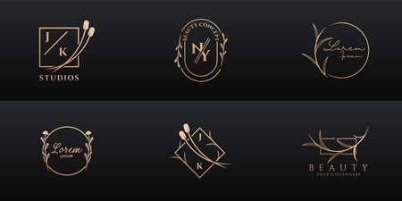 Luxury logo design collection for brand and corporate identity. Logo can be used for icon, brand, identity, feminine, gold, and business company