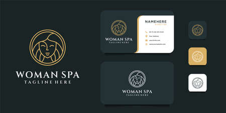 Woman spa logo design with business card template. Logo can be used for icon, brand, identity, monogram, spa, decoration, and business company