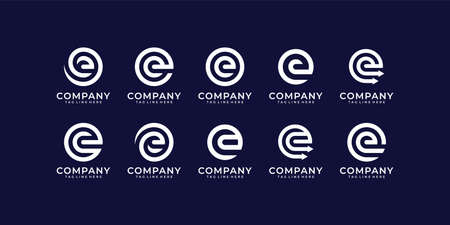 Set of letter e logo design vector in monogram style template. Logo can be used for icon, brand, identity, monogram, and business company