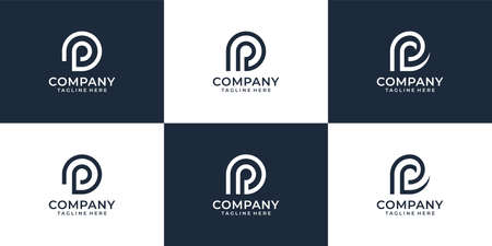 Set of letter p creative modern logo design vector concept for business company. Logo can be used for icon, brand, identity, symbol, monogram, line, feminine, and business company