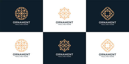 Set of modern ornament logo design vector concept for decoration. Logo can be used for icon, brand, identity, hotel, spa, luxury, and business company