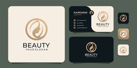 Beauty woman hairstyle logo design with business card for nature people salon elements. Logo can be used for icon, brand, identity, symbol, and fashion
