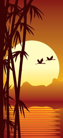 Illustration of bamboo forest, water and sundown Stock Illustration - 884659