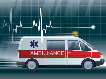 A lifeline in an electrocardiogram and an ambulance