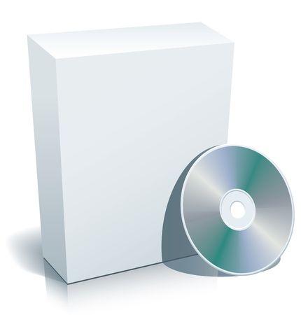 3d casilla en blanco con disco compacto listo para usar en sus diseños.  Foto de archivo