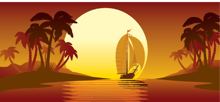 Tropical island, sunset, palms and vessel