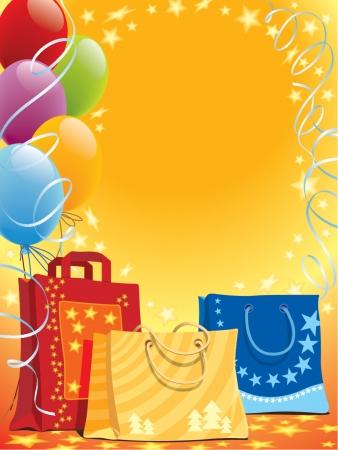 Illustration von Einkaufstüten und bunten Luftballons  Vektorgrafik