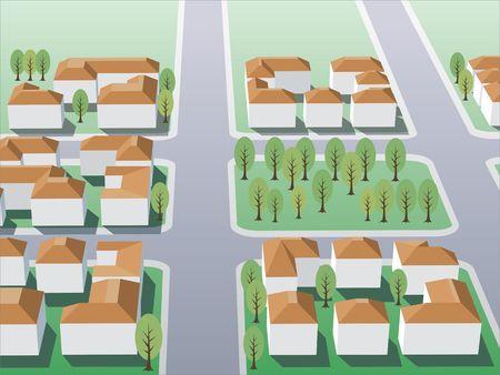 Illustration of suburb buildings design for real estate Stock Illustration - 1358016
