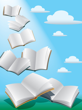 Open flying books in the sky with sunshine. Stock Photo - 1413221