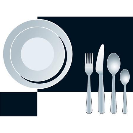 Luogo impostazione con piastra, forchetta, coltello e cucchiaio