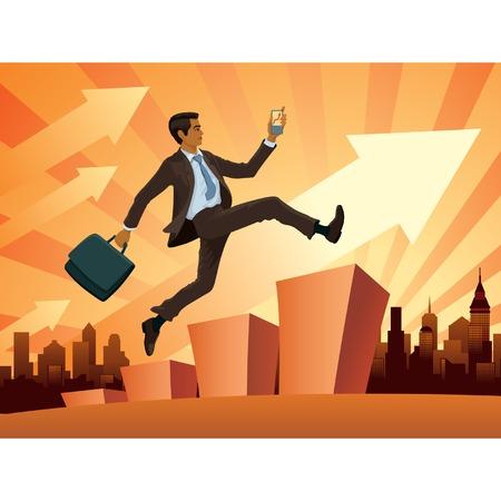 Vektor-Illustration eines jungen Geschäftsmann in Eile  Standard-Bild - 2492532