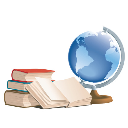 Books and globe on white background, vector