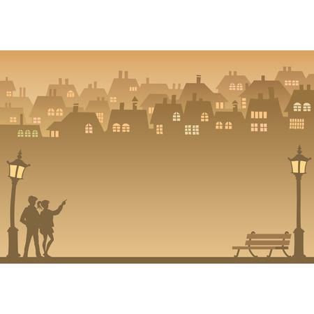 Due persone in cerca di casa propria, vettoriale