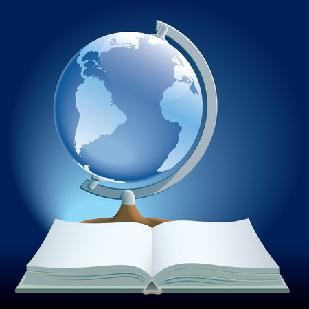 Vector illustration of book and globe on blue background.