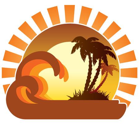 Surf olas, isla tropical, palmeras en una playa