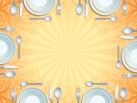 Plaats omgeving met bord, vork, lepel en mes