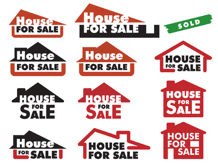 A variety of simple signs for selling house