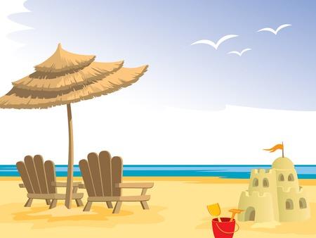 Verano playa, sillas, paraguas, juguetes y castillo de arena.