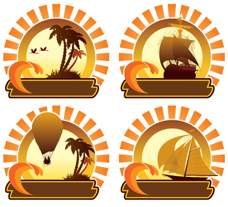 Summer holiday icons: balloon, vessel, island and palm trees