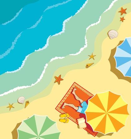 Man is enjoying tanning at the beach