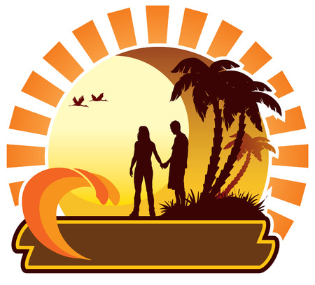 Couple looking at the sunset, summer icon Stock Vector - 3179173