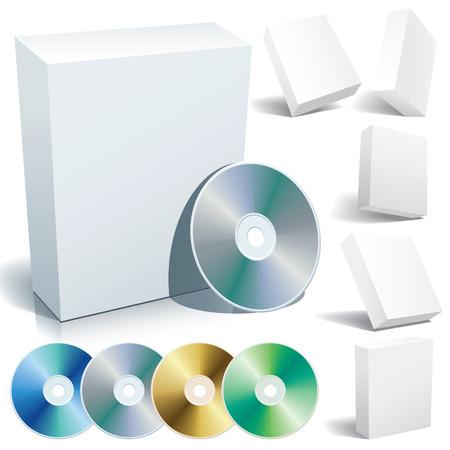 Perfecto en blanco las casillas con DVD en una variedad de posiciones.