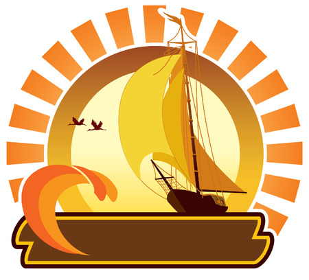 Summer icon - tropical sunset and sailing yacht Ilustração