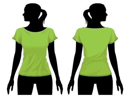 Women's t-shirt template with human body silhouette Векторная Иллюстрация