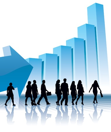People are going to a large graph, conceptual business illustration. Ilustração