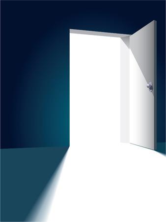 Offene Tür gegenüber hell bis dunkel Wand