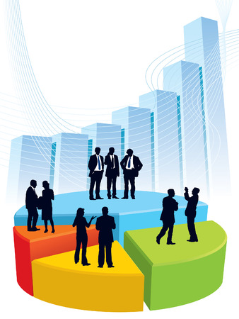 Successful people are standing on a large graph, conceptual business illustration.